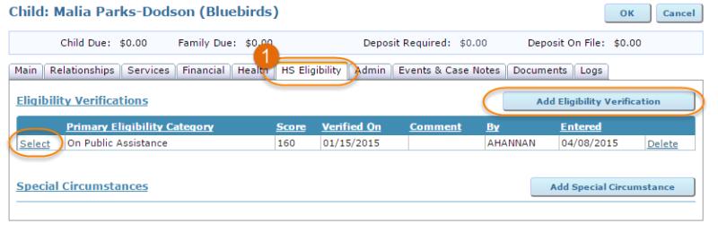 HS eligibility tab
