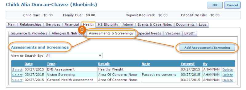 assessments and screenings tab