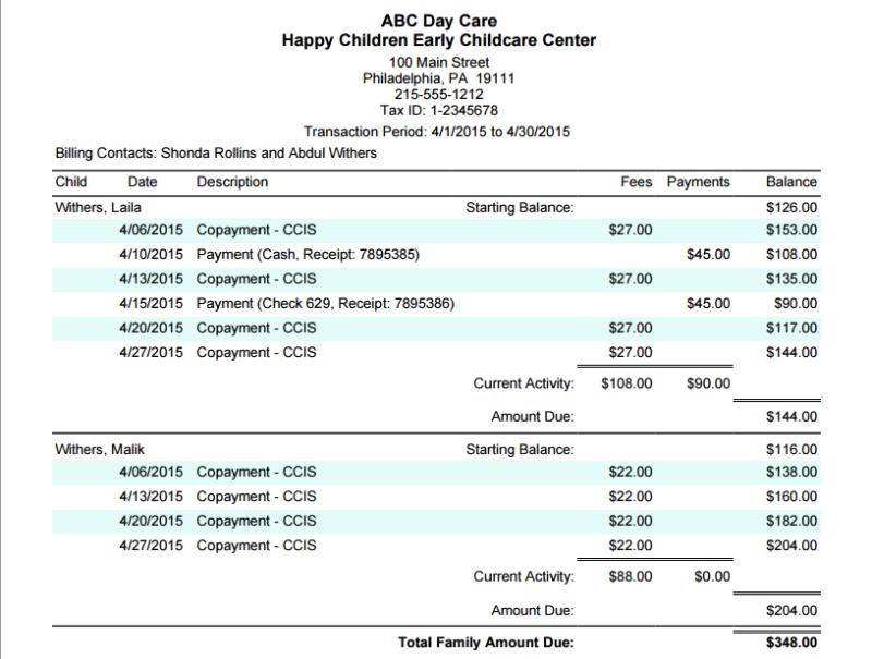 family invoice
