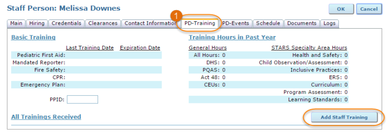 PD training tab